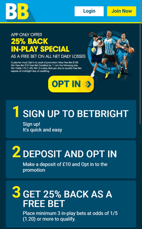 Betbright Welcome Screenshot