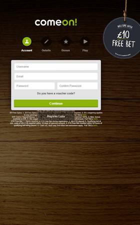 Comeon Open Account Screenshot