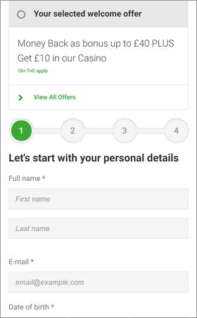 Unibet Open Account Screenshot