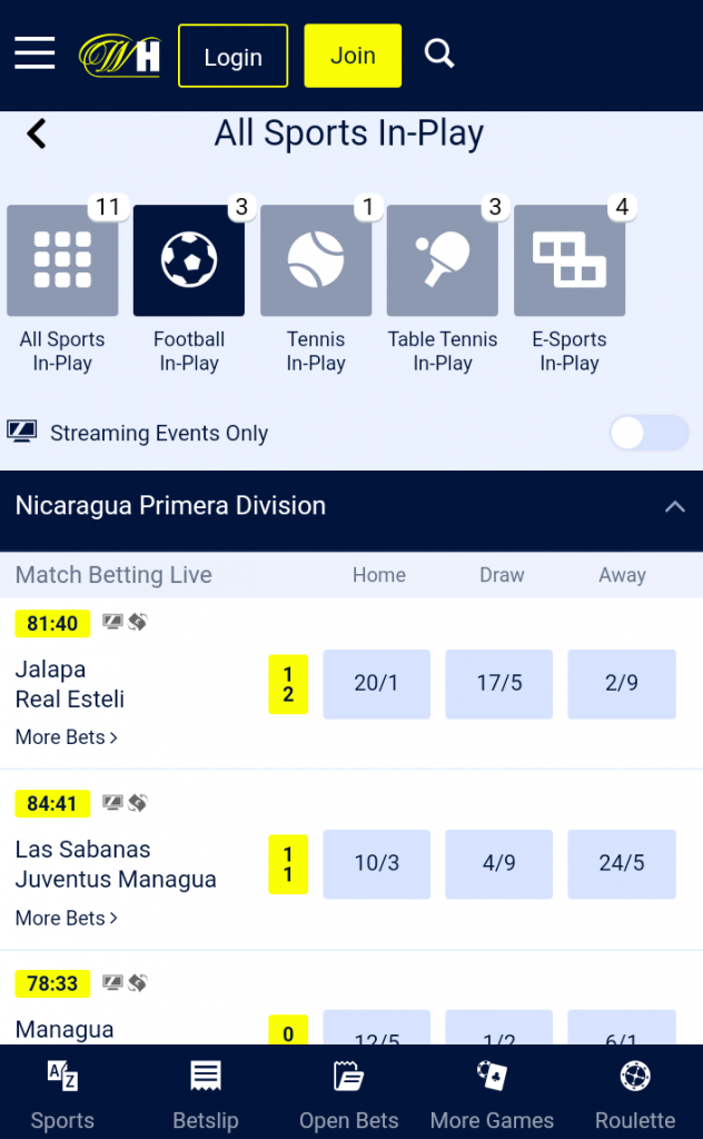 William Hill In Play Betting